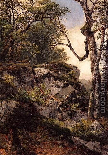 Woodland Scene by Asher Brown Durand - Reproduction Oil Painting