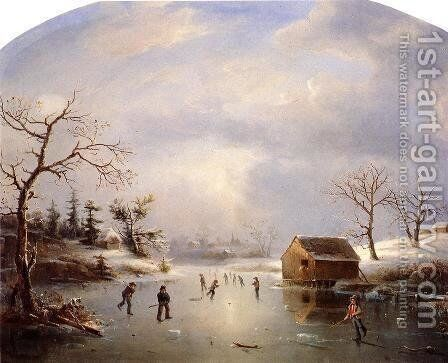 Skating Pond at Morristown, New Jersey by Marie-Regis-Francois Gignoux - Reproduction Oil Painting