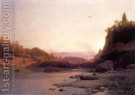 Evening on the Susquehanna by Herman Herzog - Reproduction Oil Painting