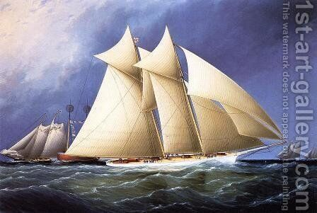 New York Yacht Club Schooner 'Columbia' Leading New York Yacht Club Schooner 'Dauntless' Rounding Sandy Hook Lightship in the Hurricane Cup Race by James E. Buttersworth - Reproduction Oil Painting