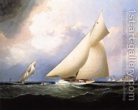 Puritan Leading Genesta, America's Cup, 1885 by James E. Buttersworth - Reproduction Oil Painting