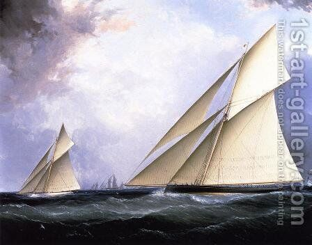 Puritan and Genesta, America's Cup 1885 by James E. Buttersworth - Reproduction Oil Painting