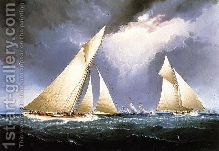 Mayflower Leading Puritan, America's Cup Trial Race, 1886 by James E. Buttersworth - Reproduction Oil Painting