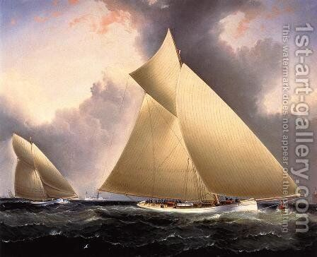 Mayflower Leading Galatea, America's Cup 1886 by James E. Buttersworth - Reproduction Oil Painting