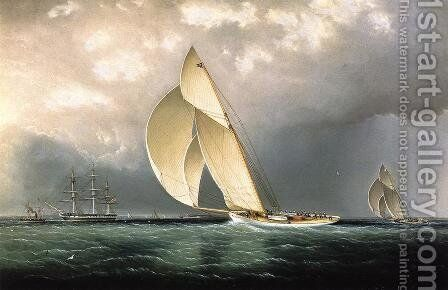 The Bark 'Marblehead' Coming into Port by James E. Buttersworth - Reproduction Oil Painting