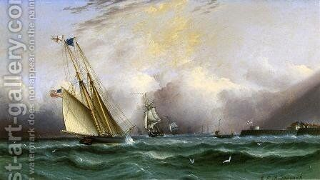 Schooner 'Columbia' off Portsmouth Harbor, England by James E. Buttersworth - Reproduction Oil Painting