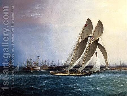 New York Yacht Club 'Comet' off the Battery by James E. Buttersworth - Reproduction Oil Painting