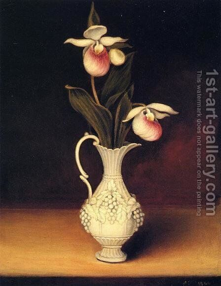Lady Slippers in a Parian Vase by Anna Claypoole Peale - Reproduction Oil Painting