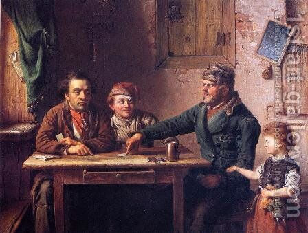 The Card Players by Eastman Johnson - Reproduction Oil Painting