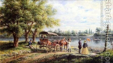 Waiting for the Ferry by Edward Lamson Henry - Reproduction Oil Painting