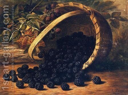 Blackberries in a Basker by August Laux - Reproduction Oil Painting