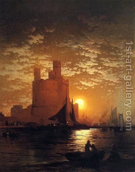 Moonlit Scene by Edward Moran - Reproduction Oil Painting