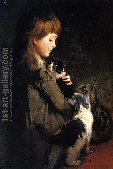 The Favorite Kitten by Abbott Handerson Thayer - Reproduction Oil Painting