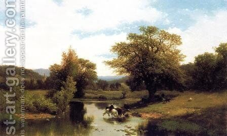 The Ford by Albert (Fitch) Bellows - Reproduction Oil Painting