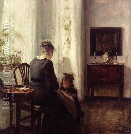 Mother and Child by a window by Carl Vilhelm Holsoe - Reproduction Oil Painting