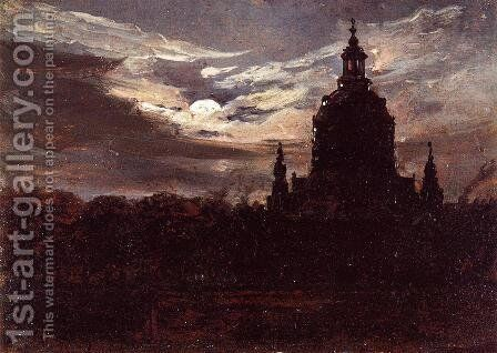 The Frankenkirche, Dresden by Johan Christian Clausen Dahl - Reproduction Oil Painting