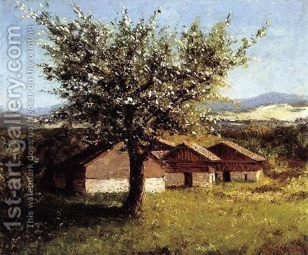 Swiss Landscape with Flowering Apple Tree by Gustave Courbet - Reproduction Oil Painting