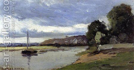 Banks of a River with Barge by Camille Pissarro - Reproduction Oil Painting