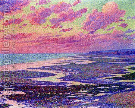 The Beach at Ambleteuse at Low Tide by Theo van Rysselberghe - Reproduction Oil Painting