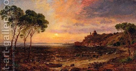 Sunset over Lake Thrasemine by Jasper Francis Cropsey - Reproduction Oil Painting