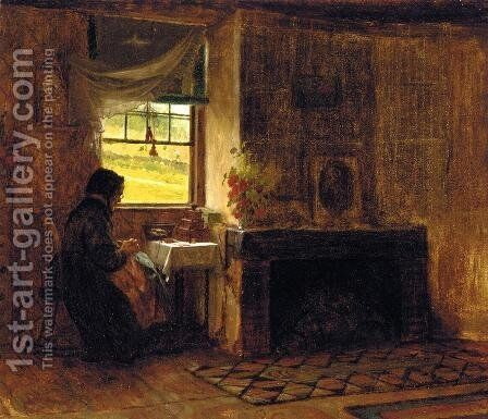 Interior of a Farm House in Maine by Eastman Johnson - Reproduction Oil Painting