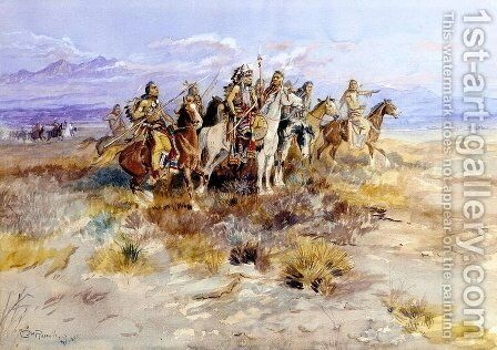 Indian Scouting Party by Charles Marion Russell - Reproduction Oil Painting