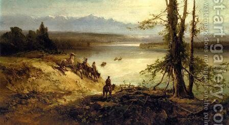 Sioux Tribe on the Platte River by Andrew Melrose - Reproduction Oil Painting