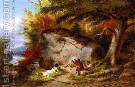 Indian Campfire at Big Rock by Cornelius David Krieghoff - Reproduction Oil Painting