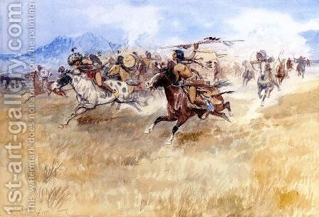The Battle Between the Blackfeet and the Piegans by Charles Marion Russell - Reproduction Oil Painting