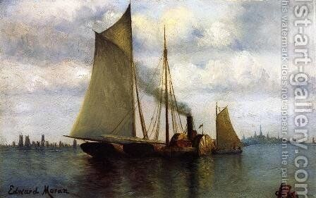 New York Harbor by Edward Moran - Reproduction Oil Painting