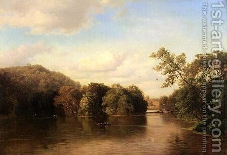 Boating down the River by Gottlieb Daniel Paul Weber - Reproduction Oil Painting