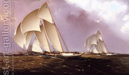 America's Cup Class Yachts Racing in New York Harbor by James E. Buttersworth - Reproduction Oil Painting