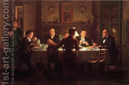 Village Squire Entertaining the New Minister by Edward Lamson Henry - Reproduction Oil Painting