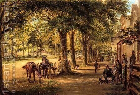 The Village Street by Edward Lamson Henry - Reproduction Oil Painting