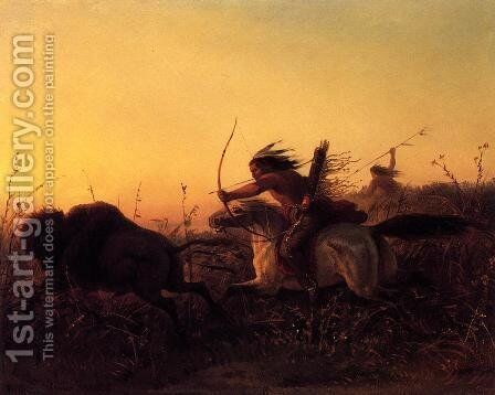 Indian Buffalo Hunt by Carl (Charles Ferdinand) Wimar - Reproduction Oil Painting