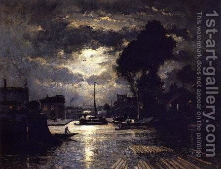 Canal in Saint-Denis - Effect of Moonlight by Stanislas Lepine - Reproduction Oil Painting