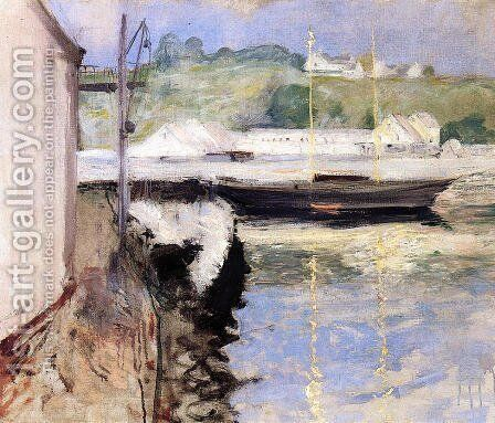 Fish Sheds and Schooner, Gloucester by William Merritt Chase - Reproduction Oil Painting