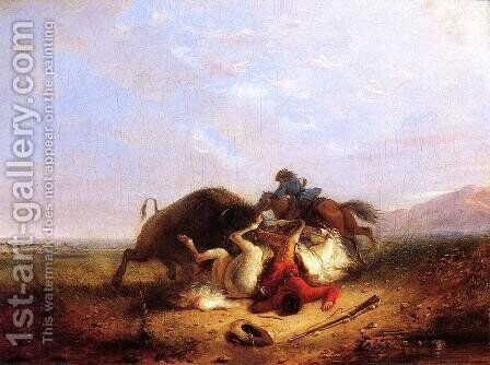 Pierre and the Buffalo by Alfred Jacob Miller - Reproduction Oil Painting