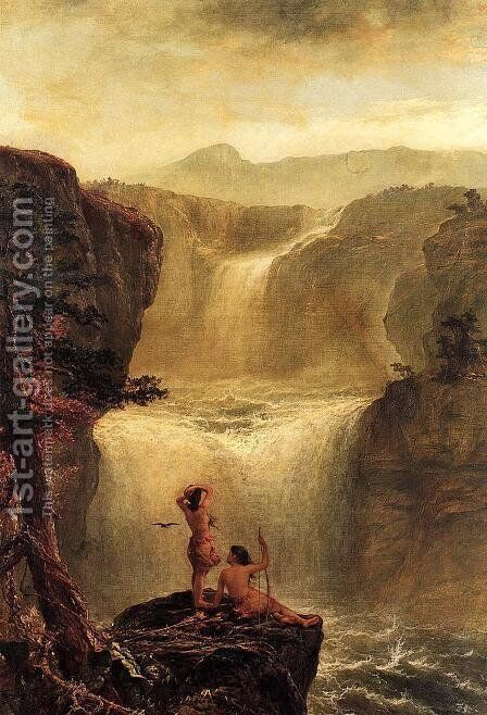 Hiawatha and Minnehaha on Their Honeymoon by Jerome B. Thompson - Reproduction Oil Painting