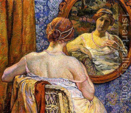 Woman at a Mirror by Theo van Rysselberghe - Reproduction Oil Painting