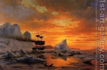 Ice Dwellers, Watching the Invaders by William Bradford - Reproduction Oil Painting