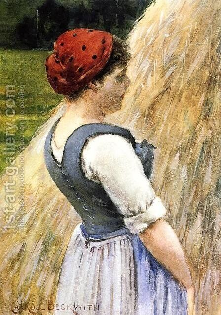 Peasant Against Hay by James Carroll Beckwith - Reproduction Oil Painting