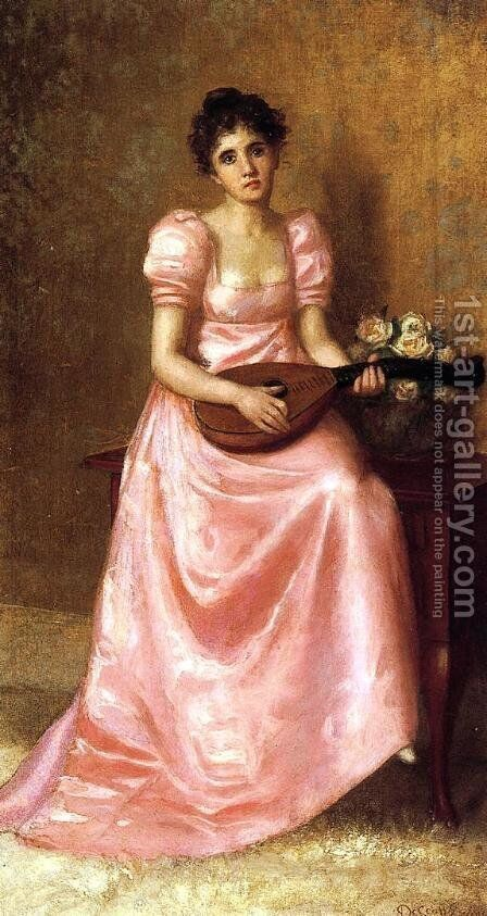 Woman Playing a Mandoliln by De Scott Evans - Reproduction Oil Painting