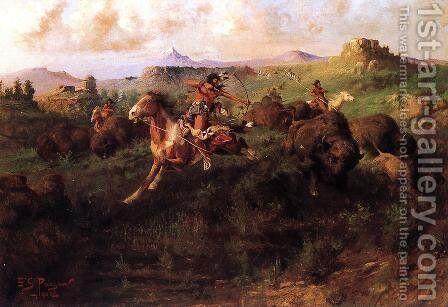 Buffalo Hunt by Charles Christian Nahl - Reproduction Oil Painting