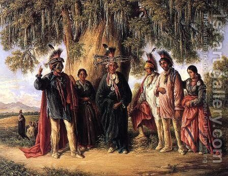 Six Kickapoo Indians, Chief and Family by August Theodor Schoefft - Reproduction Oil Painting