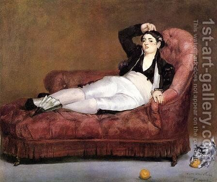 Young Woman Reclining by Edouard Manet - Reproduction Oil Painting