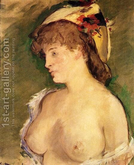 The Blond with Bare Breasts by Edouard Manet - Reproduction Oil Painting