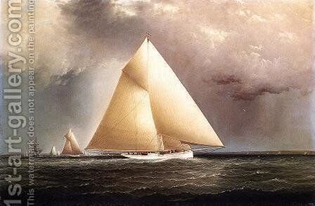 Gracie, Vision and Cornelia rounding Sandy Hook in the New York Yacht Club Regatta of June 11, 1874 by James E. Buttersworth - Reproduction Oil Painting