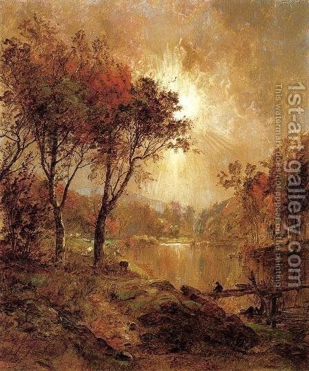 On the Ramapo River by Jasper Francis Cropsey - Reproduction Oil Painting