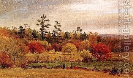 Conversation at the Fence by Jasper Francis Cropsey - Reproduction Oil Painting